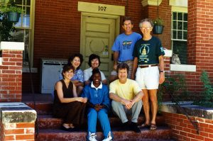 L-R: (seated) Leslie Lawson, Karen White, Deanna, Dan O'Shea, and Don Long (standing) & Bob with student intern sitting in front; old Center for the Study of Human Resources location, 107 West 27th Street, Austin, TX, ~1994