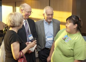 Bob McPherson with the Glovers - Toni, Bob, and Rachel; Ray Marshall Center 40th Anniversary, Austin, TX, October 2010